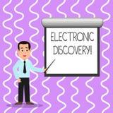 Εννοιολογικό χέρι που γράφει παρουσιάζοντας ηλεκτρονική ανακάλυψη Αν διανυσματική απεικόνιση