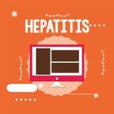 Εννοιολογικό χέρι που γράφει παρουσιάζοντας ηπατίτιδα Η επιχειρησιακή φωτογραφία που επιδεικνύει την ασθένεια Α που περιγράφεται  ελεύθερη απεικόνιση δικαιώματος