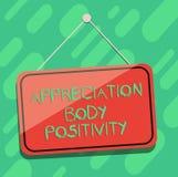 Εννοιολογικό χέρι που γράφει παρουσιάζοντας θετική σκέψη σώματος εκτίμησης Αποδοχή επίδειξης επιχειρησιακών φωτογραφιών και εκτίμ διανυσματική απεικόνιση