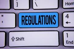 Εννοιολογικό χέρι που γράφει παρουσιάζοντας κανονισμούς Εταιρικές δηλώσεις πολιτικής ασφάλειας προτύπων νόμων κανόνων επίδειξης ε Στοκ Εικόνα