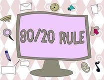 Εννοιολογικό χέρι που γράφει παρουσιάζοντας κανόνα 80 20 Η αρχή του Παρέτου κειμένων επιχειρησιακών φωτογραφιών αποτελέσματα 80 τ απεικόνιση αποθεμάτων