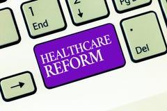 Εννοιολογικό χέρι που γράφει παρουσιάζοντας μεταρρύθμιση υγειονομικής περίθαλψης Καινοτομία και βελτίωση κειμένων επιχειρησιακών  στοκ φωτογραφία