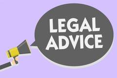 Εννοιολογικό χέρι που γράφει παρουσιάζοντας νομική συμβουλή Άποψη δικηγόρων επίδειξης επιχειρησιακών φωτογραφιών για τη διαδικασί διανυσματική απεικόνιση