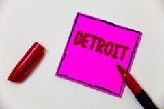 Εννοιολογικό χέρι που γράφει παρουσιάζοντας Ντιτρόιτ Επιδεικνύοντας πόλη επιχειρησιακών φωτογραφιών στην πρωτεύουσα των Ηνωμένων  στοκ φωτογραφίες με δικαίωμα ελεύθερης χρήσης