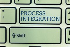 Εννοιολογικό χέρι που γράφει παρουσιάζοντας ολοκλήρωση διαδικασίας Συνδετικότητα επίδειξης επιχειρησιακών φωτογραφιών των υπηρεσι στοκ εικόνες