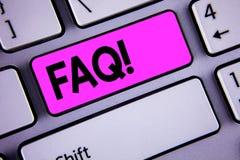 Εννοιολογικό χέρι που γράφει παρουσιάζοντας σε Faq κινητήρια κλήση Επιχειρησιακή φωτογραφία που επιδεικνύει τη συχνά ερώτηση για  Στοκ φωτογραφία με δικαίωμα ελεύθερης χρήσης