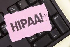 Εννοιολογικό χέρι που γράφει παρουσιάζοντας σε Hipaa κινητήρια κλήση Φορητότητα και υπευθυνότητα ασφάλειας υγείας επίδειξης επιχε Στοκ Εικόνες