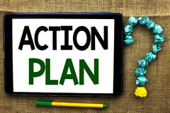 Εννοιολογικό χέρι που γράφει παρουσιάζοντας σχέδιο δράσης Λειτουργικός στόχος W στόχου δραστηριότητας διαδικασίας προγραμματισμού στοκ εικόνες