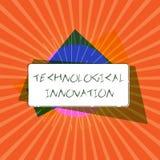 Εννοιολογικό χέρι που γράφει παρουσιάζοντας τεχνολογική καινοτομία Επιχειρησιακή φωτογραφία που επιδεικνύει τη νέα εφεύρεση από τ διανυσματική απεικόνιση