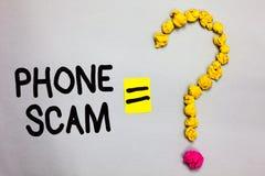 Εννοιολογικό χέρι που γράφει παρουσιάζοντας τηλεφωνική απάτη Επιχειρησιακή φωτογραφία που επιδεικνύει παίρνοντας τις ανεπιθύμητες στοκ εικόνα με δικαίωμα ελεύθερης χρήσης