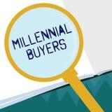 Εννοιολογικό χέρι που γράφει παρουσιάζοντας χιλιετείς αγοραστές Τύπος επίδειξης επιχειρησιακών φωτογραφιών καταναλωτών που ενδιαφ απεικόνιση αποθεμάτων