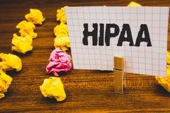 Εννοιολογικό χέρι που γράφει παρουσιάζοντας Hipaa Θρόμβος νόμου υγειονομικής περίθαλψης νόμων φορητότητας και υπευθυνότητας ασφάλ στοκ φωτογραφίες