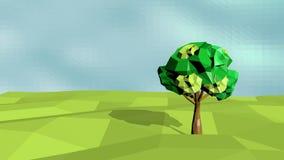 Εννοιολογικό polygonal δέντρο Αφηρημένη απεικόνιση τοπίων, χαμηλό πολυ ύφος Στοκ Εικόνα