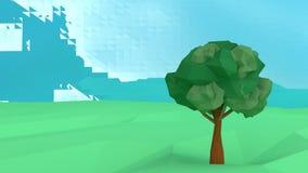 Εννοιολογικό polygonal δέντρο Αφηρημένη απεικόνιση τοπίων, χαμηλό πολυ ύφος Στοκ Εικόνες