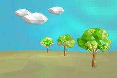 Εννοιολογικό polygonal δέντρο Αφηρημένη απεικόνιση τοπίων, χαμηλό πολυ ύφος Στοκ εικόνα με δικαίωμα ελεύθερης χρήσης