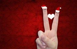 Εννοιολογικά δάχτυλα Χριστουγέννων ερωτευμένα Στοκ φωτογραφία με δικαίωμα ελεύθερης χρήσης