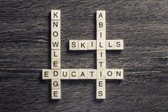 Εννοιολογικές επιχειρησιακές λέξεις κλειδιά στον πίνακα με τα στοιχεία του maki παιχνιδιών Στοκ εικόνα με δικαίωμα ελεύθερης χρήσης