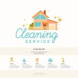 Εννοιολογική αφίσα και το λογότυπο για τον καθαρισμό επίσης corel σύρετε το διάνυσμα απεικόνισης Στοκ Εικόνες