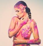 Εννοιολογική τέχνη σωμάτων σε μια γυναίκα Στοκ εικόνες με δικαίωμα ελεύθερης χρήσης