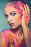Εννοιολογική τέχνη σωμάτων σε μια γυναίκα Στοκ Εικόνες