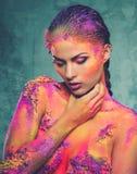 Εννοιολογική τέχνη σωμάτων σε μια γυναίκα Στοκ Εικόνα