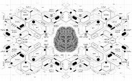 Εννοιολογικός Polygonal εγκέφαλος με τα στοιχεία HUD Υπόβαθρο με το φουτουριστικό ενδιάμεσο με τον χρήστη Έννοια σχεδίου με Head- Ελεύθερη απεικόνιση δικαιώματος