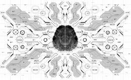 Εννοιολογικός Polygonal εγκέφαλος με τα στοιχεία HUD Υπόβαθρο με το φουτουριστικό ενδιάμεσο με τον χρήστη Έννοια σχεδίου με Head- Απεικόνιση αποθεμάτων