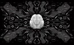Εννοιολογικός Polygonal εγκέφαλος με τα στοιχεία HUD Υπόβαθρο με το φουτουριστικό ενδιάμεσο με τον χρήστη Έννοια σχεδίου με Head- Διανυσματική απεικόνιση