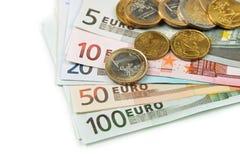 εννοιολογικό ευρώ πενήντα πέντε δέκα νομίσματος τραπεζογραμματίων Στοκ Εικόνες