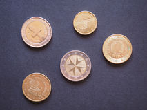 εννοιολογικό ευρώ πενήντα πέντε δέκα νομίσματος τραπεζογραμματίων Στοκ φωτογραφία με δικαίωμα ελεύθερης χρήσης
