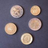 εννοιολογικό ευρώ πενήντα πέντε δέκα νομίσματος τραπεζογραμματίων Στοκ φωτογραφίες με δικαίωμα ελεύθερης χρήσης