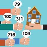 Εννοιολογικό διάνυσμα δημοπρασίας ακίνητων περιουσιών ελεύθερη απεικόνιση δικαιώματος