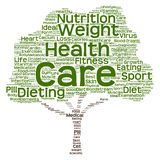 Εννοιολογικό σύννεφο λέξης δέντρων υγείας ή διατροφής Στοκ Εικόνα