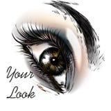 Εννοιολογικό υπόβαθρο μόδας με το όμορφο θηλυκό μάτι Στοκ Φωτογραφία