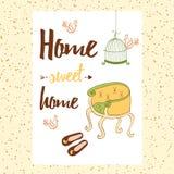 Εννοιολογικό χειρόγραφο εγχώριο γλυκό σπίτι φράσης με την καρέκλα, παπούτσια σπιτιών, κλουβί του πουλιού, πουλιά Στοκ φωτογραφίες με δικαίωμα ελεύθερης χρήσης