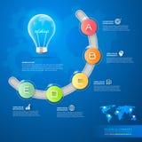 Εννοιολογικό infographics επιχειρησιακής ιδέας σχεδίου lightbulb Στοκ Εικόνες