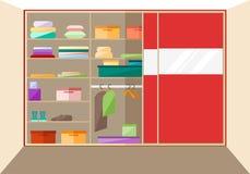 Ενσωματωμένη ντουλάπα σε ένα επίπεδο ύφος επίσης corel σύρετε το διάνυσμα απεικόνισης Στοκ Φωτογραφία