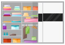 Ενσωματωμένη ντουλάπα σε ένα επίπεδο ύφος ελεύθερη απεικόνιση δικαιώματος