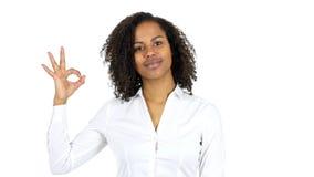 Εντάξει σημάδι μαύρων γυναικών, άσπρο υπόβαθρο Στοκ Εικόνες