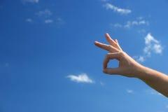 εντάξει σημάδι χεριών Στοκ εικόνες με δικαίωμα ελεύθερης χρήσης