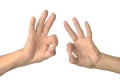 Εντάξει σημάδια χεριών που απομονώνονται Στοκ Εικόνες