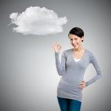 Εντάξει χειρονομία και σύννεφο στοκ φωτογραφία με δικαίωμα ελεύθερης χρήσης