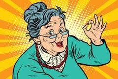 Εντάξει χειρονομία Grandma, οι ηλικιωμένοι απεικόνιση αποθεμάτων