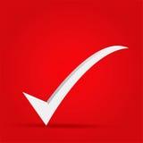 ΕΝΤΑΞΕΙ εικονίδιο σημαδιών επάνω στο κόκκινο Στοκ Εικόνα