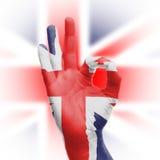 ΕΝΤΑΞΕΙ σημάδι χεριών με τη βρετανική σημαία Στοκ Εικόνες
