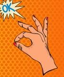 ΕΝΤΑΞΕΙ σημάδι χεριών Στοκ Φωτογραφία
