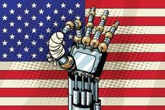 ΕΝΤΑΞΕΙ χειρονομία ρομπότ, η αμερικανική σημαία Σπασμένο επιδεμένο δάχτυλο Στοκ Εικόνα