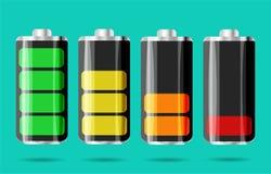 Εντελώς εκφορτισμένη και φορτισμένη μπαταρία sartphone Cha μπαταριών ελεύθερη απεικόνιση δικαιώματος