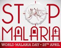 Εντομοκτόνο καπνού που στοχεύει στο κουνούπι στην ημέρα παγκόσμιας ελονοσίας, διανυσματική απεικόνιση Στοκ Εικόνες