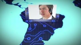 Εντοπισμός λίγων εργασιακών χώρων της τηλεφωνικής πλατφόρμας στον κόσμο απόθεμα βίντεο